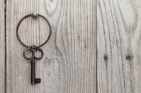 rusty key and keyring