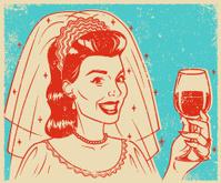 Retro Screen Print Bride with Wine