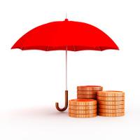 3d umbrella and gold coins, financial savings concept