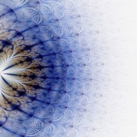 Symmetrical fractal flower blue, digital artwork for creative gr