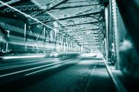 Night traffic lights inside of the  Waibaidu Bridge of shanghai