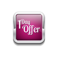 1 day Offer Pink Vector Icon Button