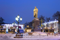 Moscow. The monument to the Russian poet Pushkin winter evening.
