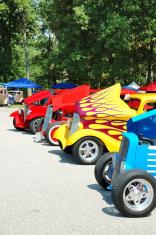 Classic Street Rod Lineup at Car Show