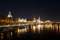 Night scene in Dresden, Germany. City center and river Elba