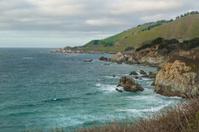 California coast and green hills