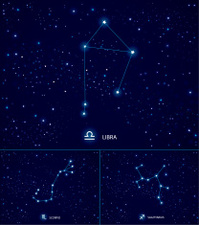 Constellations on the starry sky.  Libra. Scorpio. Sagittarius.