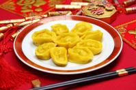 homemade chinese gold ingot dumplings, spring festival food