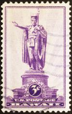 King Kamehameha Statue on old stamp of Hawaii