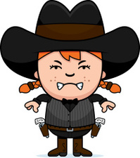 Angry Cartoon Little Gunfighter