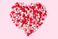 Candy Heart on Pink Background