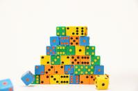 Tumbling pyramid of coloured dice