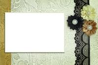 Decorative template with photo frame. Scrapbook, photobook conce