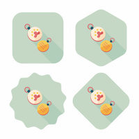 Pet tag flat icon with long shadow,eps10