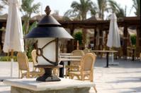 Lantern in the patio of restaurant