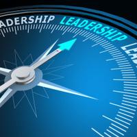 Leadership word on compass
