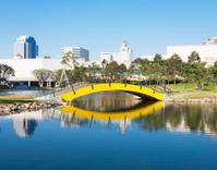 Small yellow bridge in Long Beach California.