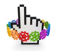 Colorful gears around cursor.