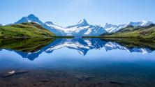 Reflection of the famous Matterhorn in lake, Zermatt, Switzerlan