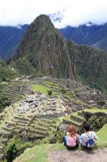 Young Couple Looking at Machu Picchu, Peru