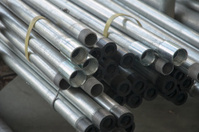 Stainless steel pipe in factory
