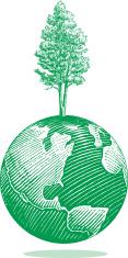 Environmental Tree on Earth World Globe