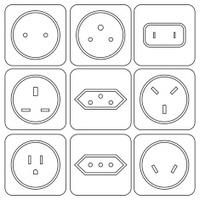 Icon Set of international electric sockets