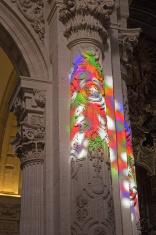 Sevilla - The windowpane light in El Salvador church