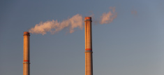 Industrial scenery with smoke from coal powered plant