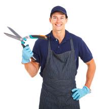 young gardener holding garden shears