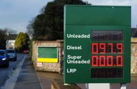 Fuel price board, Jersey, U.K.