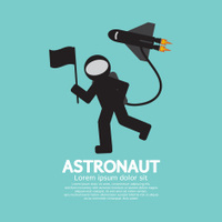 Astronaut With Spaceship Graphic