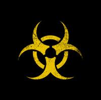 Biohazard warning symbol on black background. vector
