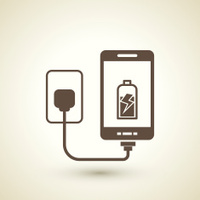 retro style mobile phone charging icon
