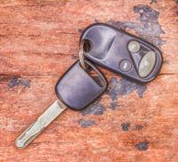 The key car on wood texture.