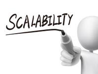 scalability word written by 3d man