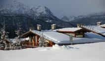 Alpine home under snow