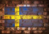 Swedish Flag Stenciled on Rustic Brick Wall