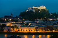 Salzburg with Hohensalzburg Fortress at night, Austria
