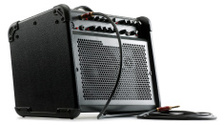 Guitar Amplifier with cable attached isolated on white backgroun