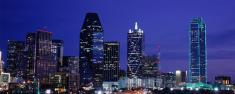 Panorama of Dallas City Skyline at Night