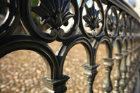 forged lattice fence in the city