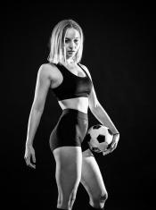 B&W Soccer Player