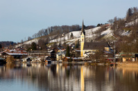Bavarian lake Schliersee with with blue sky in winter