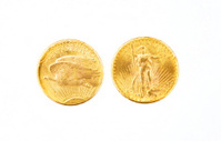 American 20 dollars gold eagle coins.