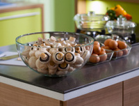 kitchen worktop macro photo mushrooms