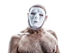 Creepy Blank Mask Senior Man