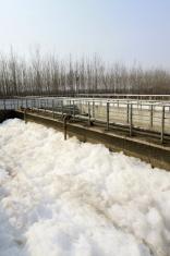 Sewage treatment plant closeup in an industrial enterprise