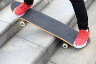 skateboarding on stairs