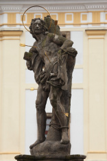 Saint Sebastian. Baroque statue in Hradec Kralove, Czech Republi
